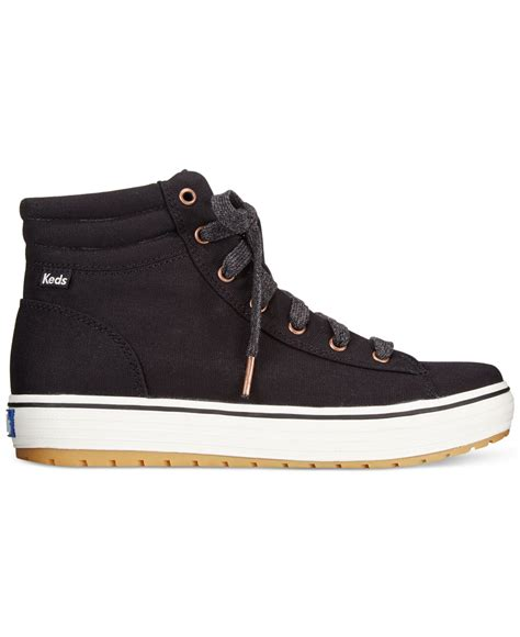 high top black sneakers womens lyst keds s high rise high top sneakers in black