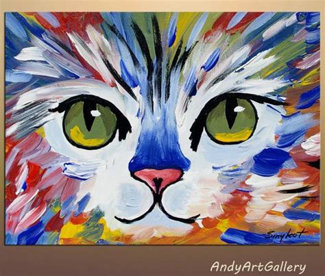 basic cat painting designs original abstract cat painting acrylic on canvas by
