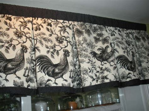 curtains french country fighting roosters black  white