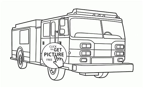 rescue fire engine coloring page for kids transportation
