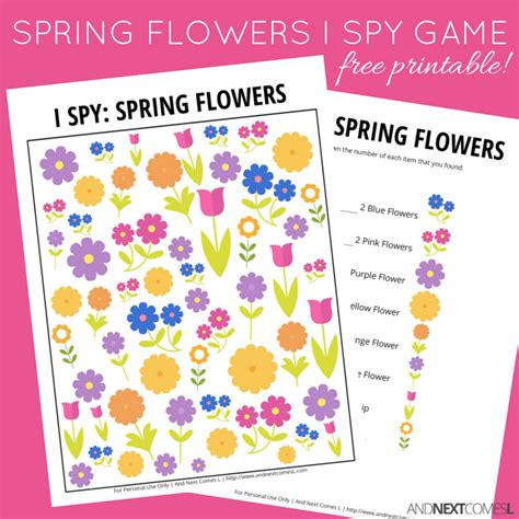 printable games about flowers spring flowers i spy game free printable for kids and