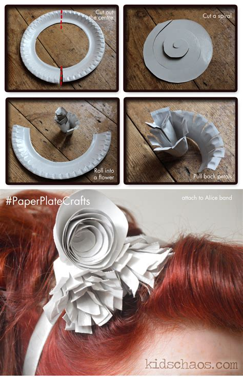 How To Make A Phlet Out Of Paper - paper plate flower crafts fascinator kidschaos