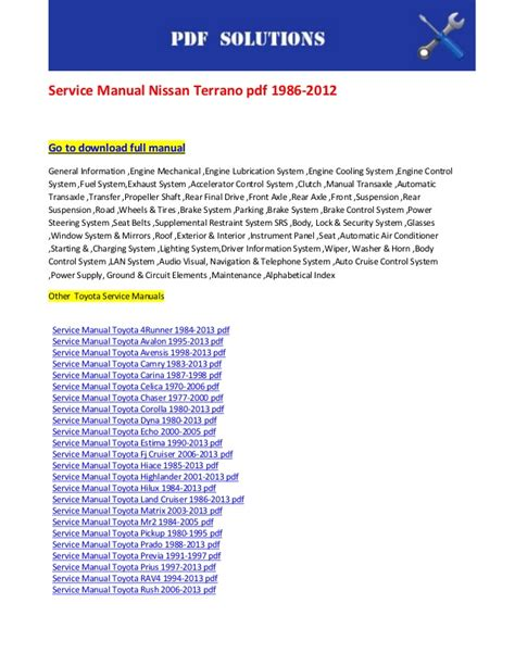 service repair manual free download 2012 toyota prius windshield wipe control service manual nissan terrano pdf 1986 2012