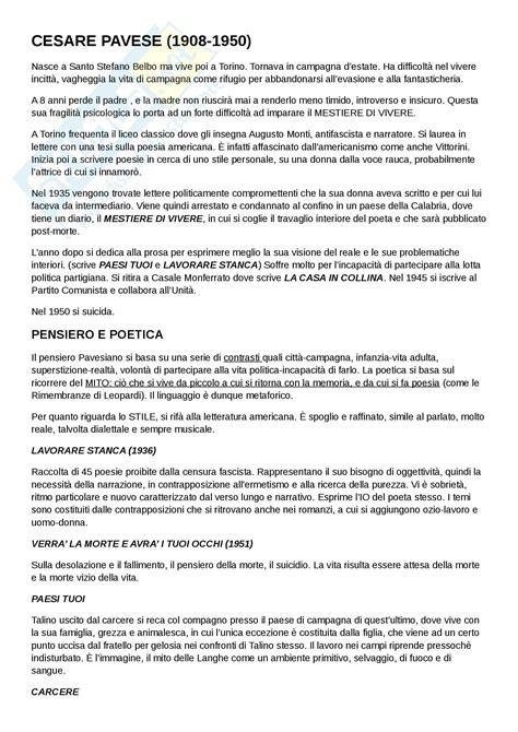 cesare pavese lettere cesare pavese appunti di letteratura italiana