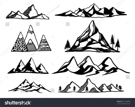 Tulipia Set Rok mountains vector illustration set lager vektor