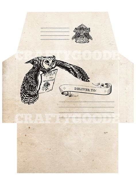 Card Template Hermine by Harry Potter Inspired Envelope Diy Printable Harry