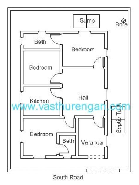 house plan for south facing plot with two bedrooms vastu plan for south facing plot 5 vasthurengan com