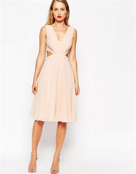 hairstyles for cut out dress side cut out dress lyst asos side cut out midi dress green