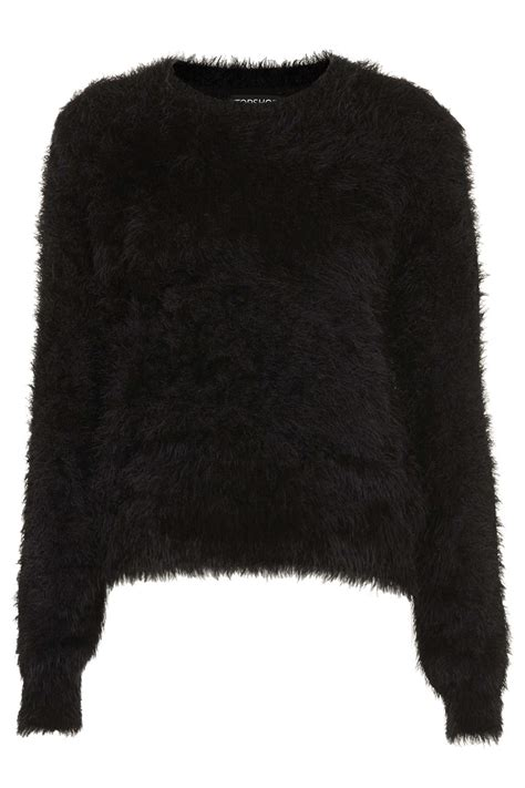 black and white knitted jumper topshop knitted fluffy crew jumper in black lyst