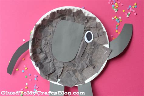 Paper Craft Elephant - paper plate elephant kid craft glued to my crafts