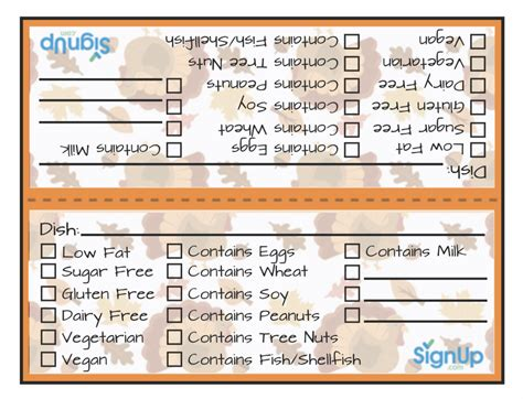 printable thanksgiving meal tags  holiday potlucks