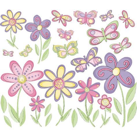 flowers and butterflies wall stickers small butterflies flowers peel stick wall stickers
