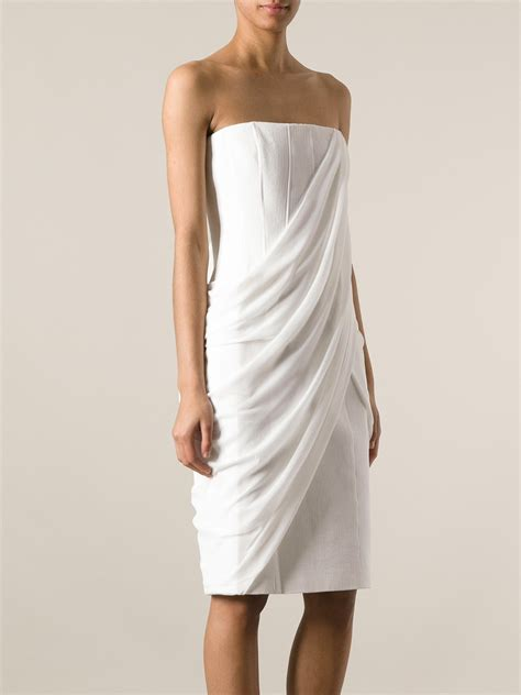 draped white dress givenchy draped front dress in white lyst