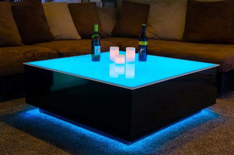diy led light table cubix series 44 quot x 44 quot led lighted coffee table lounge
