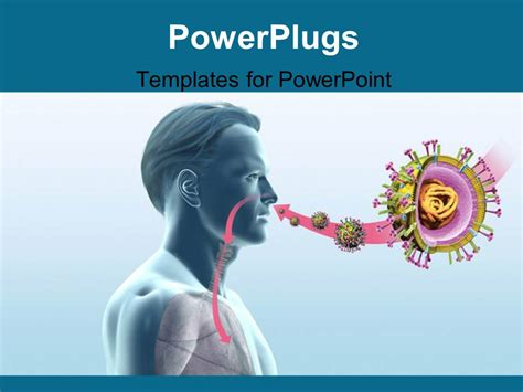 templates powerpoint virus powerpoint template man with swine flu virus h1n1 28333