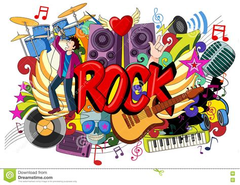 doodle god 2 rock n roll doodle on rock concept stock vector image 71724514