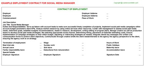 social media management agreement template social media manager employment contract