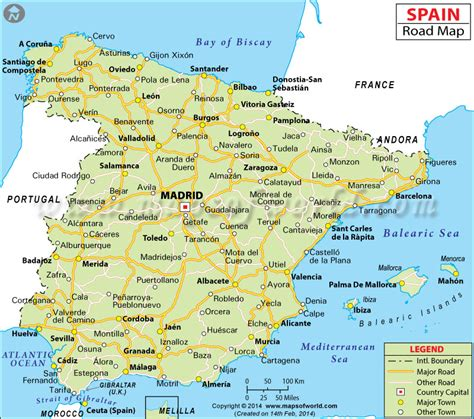 printable world map in spanish spain road map road map of spain