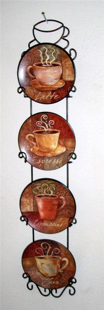 coffee themed home decor 4 piece coffee house bistro cafe wall plate rack set decor