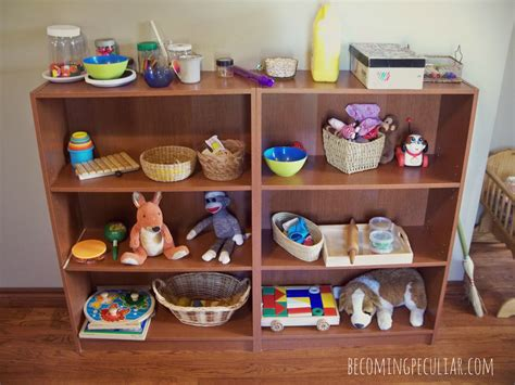 Toys On A Shelf by Raising A Low Media Toddler Preparing The Environment