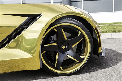 corvette stingray gold widebody corvette stingray by forgiato looks magnificent