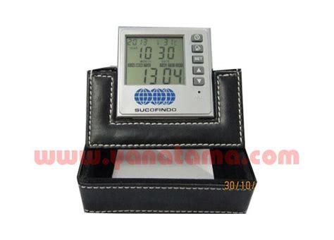 Souvenir Promosi Logo Universal Multi Fungsi desk clock pen holder jam memo kulit 287