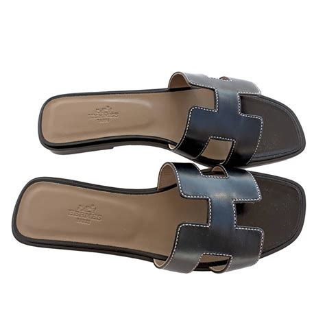 Sandal Hermes Putih 2 hermes oran black box leather sandals white stitching size 40 or 3 9 or 10 at 1stdibs