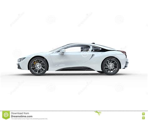 sports car side view modern white sports car side view stock illustration