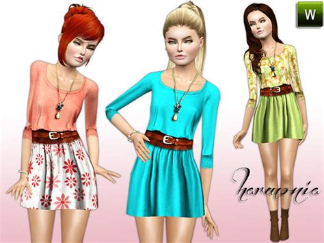 sims 3 teen clothes harmonia s teen belted 3 4 short sleeves flared dress