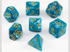 Pearl Dice (Teal, Gold Numbers) RPG Role Playing Game Dice ... Elven Numbers