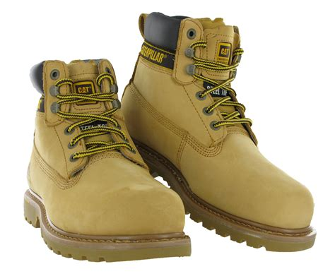 mens cat caterpillar holton leather steel toe cap safety
