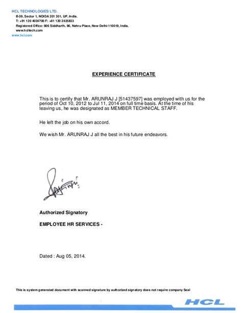 Experience Letter For Business Development Executive Experience Letter