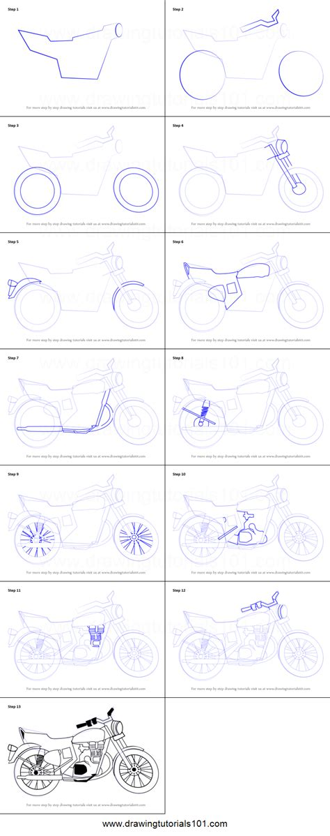 How To Draw A Step By Step How To Draw A Motorcycle Printable Step By Step Drawing