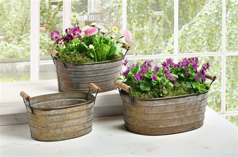Metal Tub Planter by Metal Planter Tubs With Wooden Handles Set Of Three Ebay