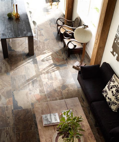 this slate floor is actually porcelain tile made to look like real slate using hd technology
