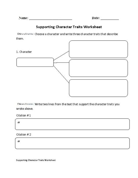 Character Traits Worksheet by Supporting Character Traits Worksheet Englishlinx