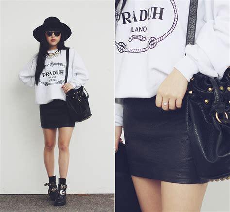 willabelle ong praduh sweater lambskin leather skirt
