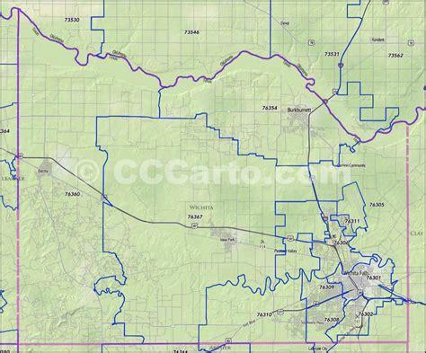 zip code map wichita falls tx wichita county zip code boundary map