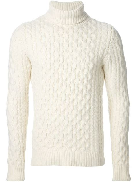 white turtleneck sweater lyst diesel cable knit turtleneck sweater in white for men