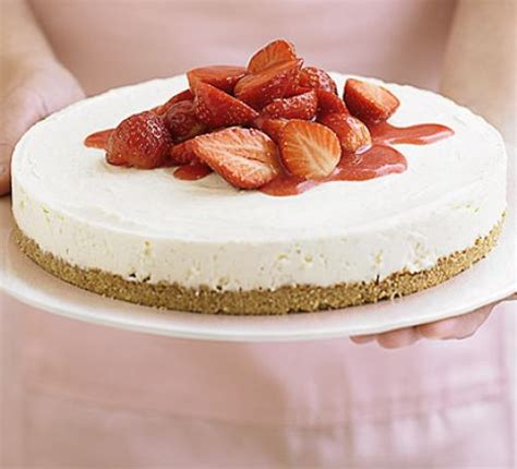 strawberry cheesecake in 4 easy steps recipe bbc good food