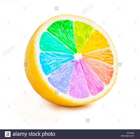 rainbow color wheel lemon cut half slice with color wheel rainbow colors