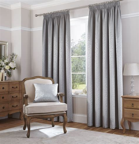 metallic grey curtains metallic sheen leaves silver grey woven lined pencil pleat