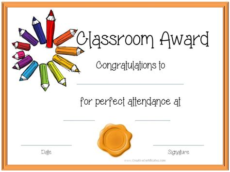 certificate template for children attendance award certificates