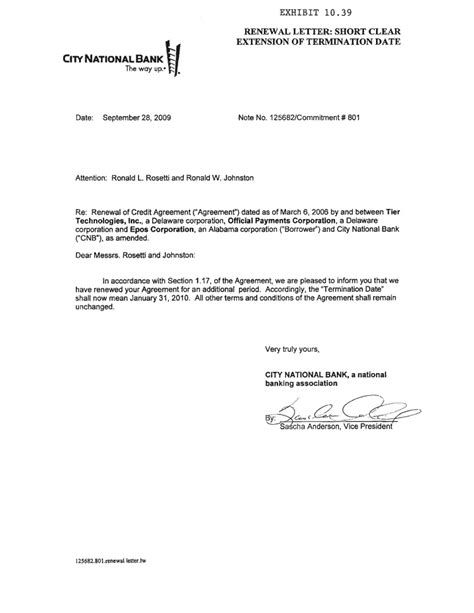 Official Bank Letter Sle Official Payments Holdings Inc Form 10 K Ex 10 39