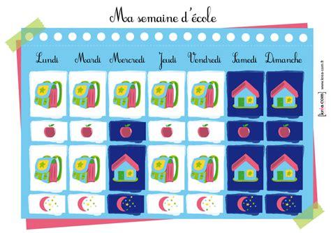 Calendrier Ecole Calendrier Ou Semainier Enfant D Inspiration Montessori