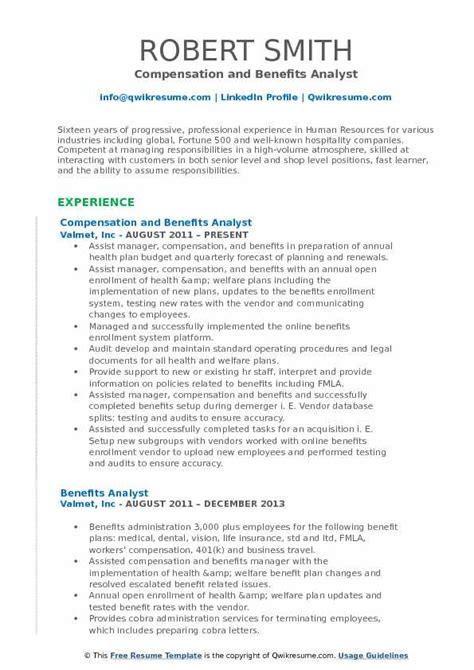 Benefits Analyst Sle Resume benefits analyst resume sles qwikresume