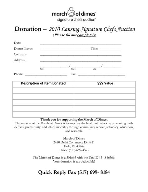 charity auction receipt template chef s auction donation form