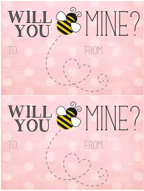 bee mine card template 60 free s day class card printables for children