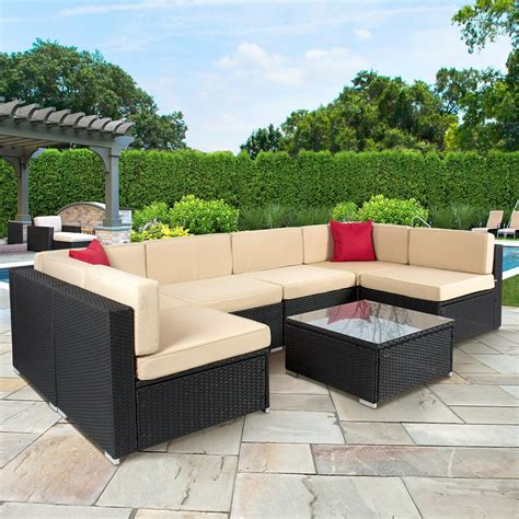 best outdoor sectional best choice products 7pc wicker outdoor sectional sofa set
