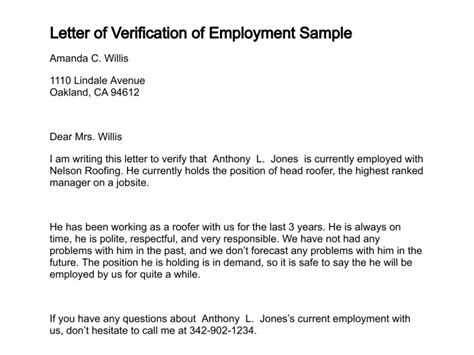 Letter For Proof Of Employment And Income Letter Of Verification Of Employment
